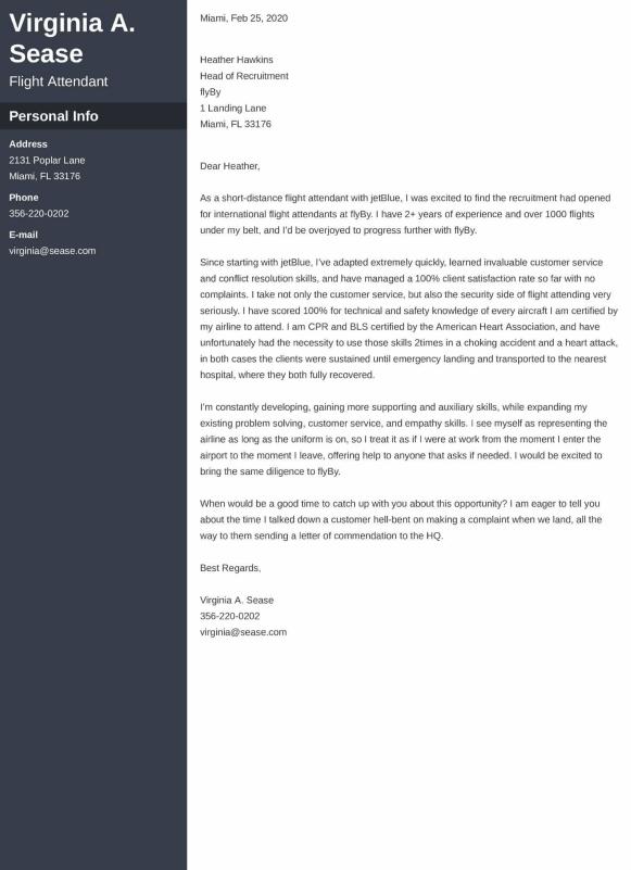 flight attendant cover letter example