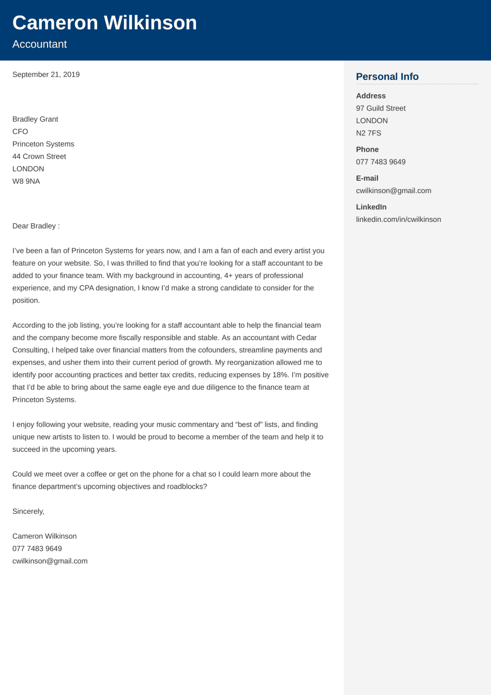 Accounting Cover Letter Example