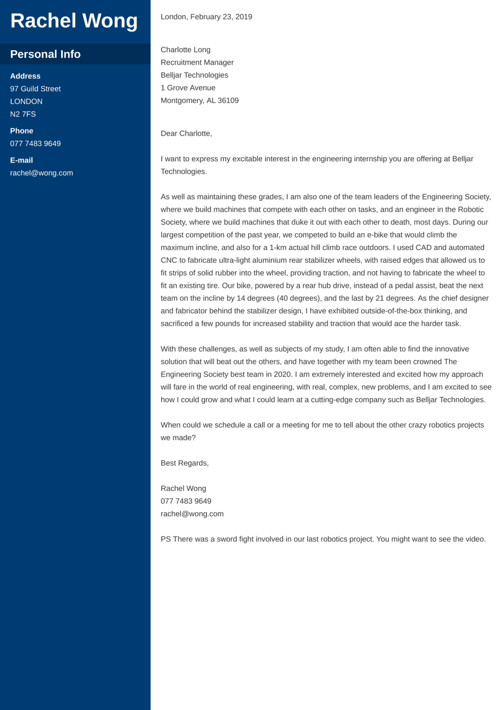 Engineering Internship Cover Letter Example