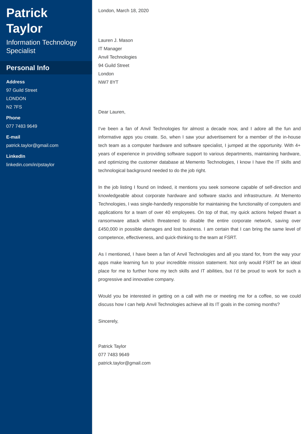 IT Desk Cover Letter Example