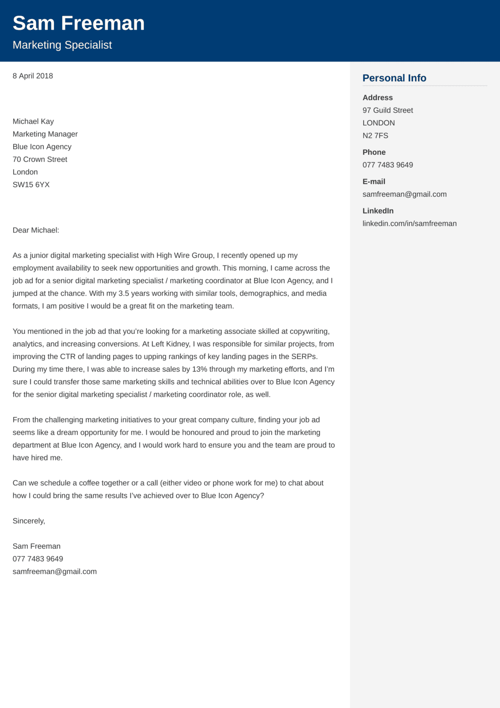 Marketing Cover Letter Example