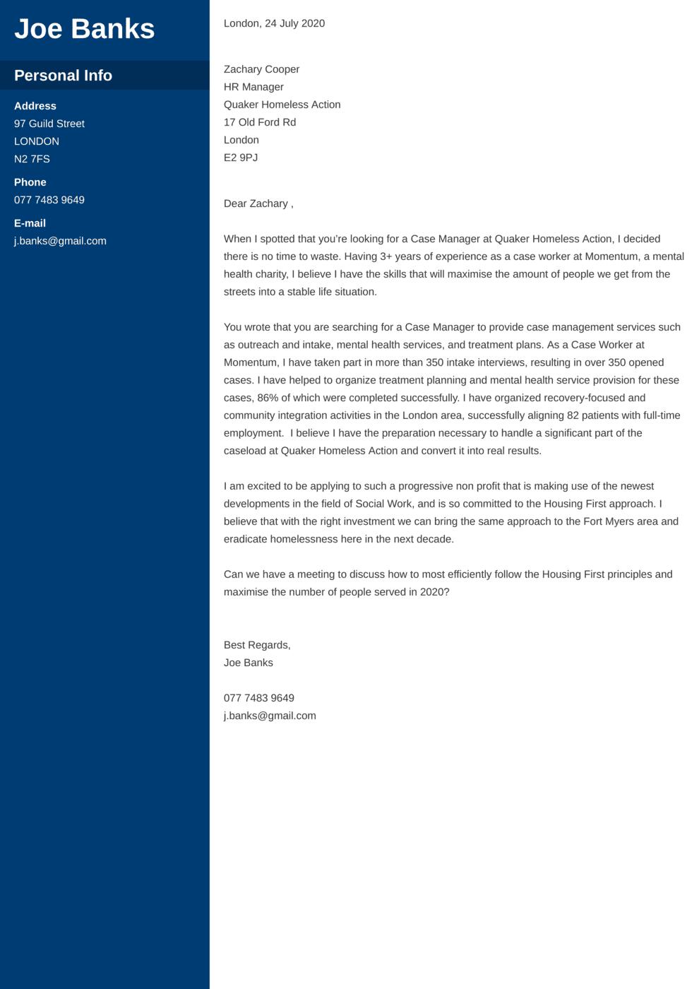 Non Profit Cover Letter Example