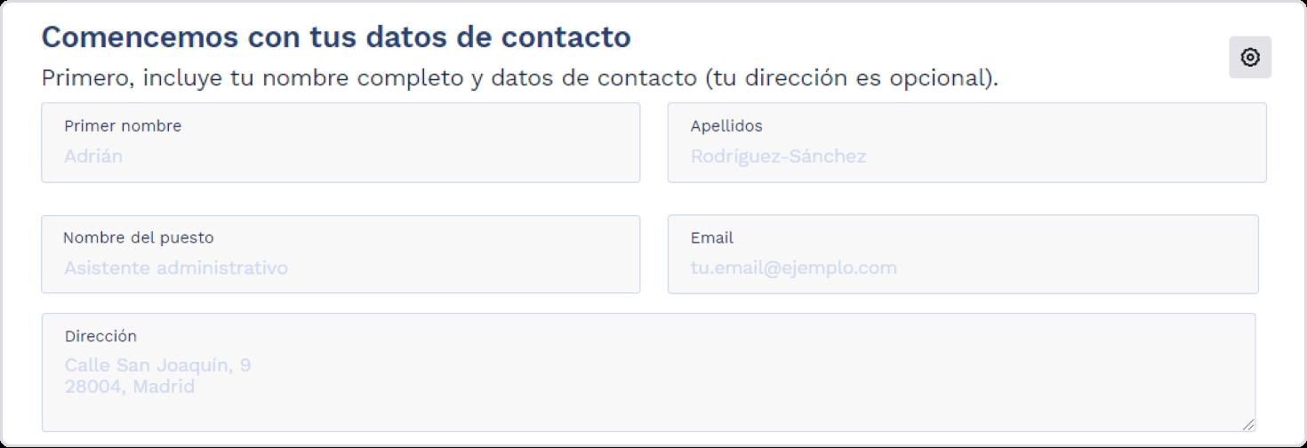 Datos de contacto cv