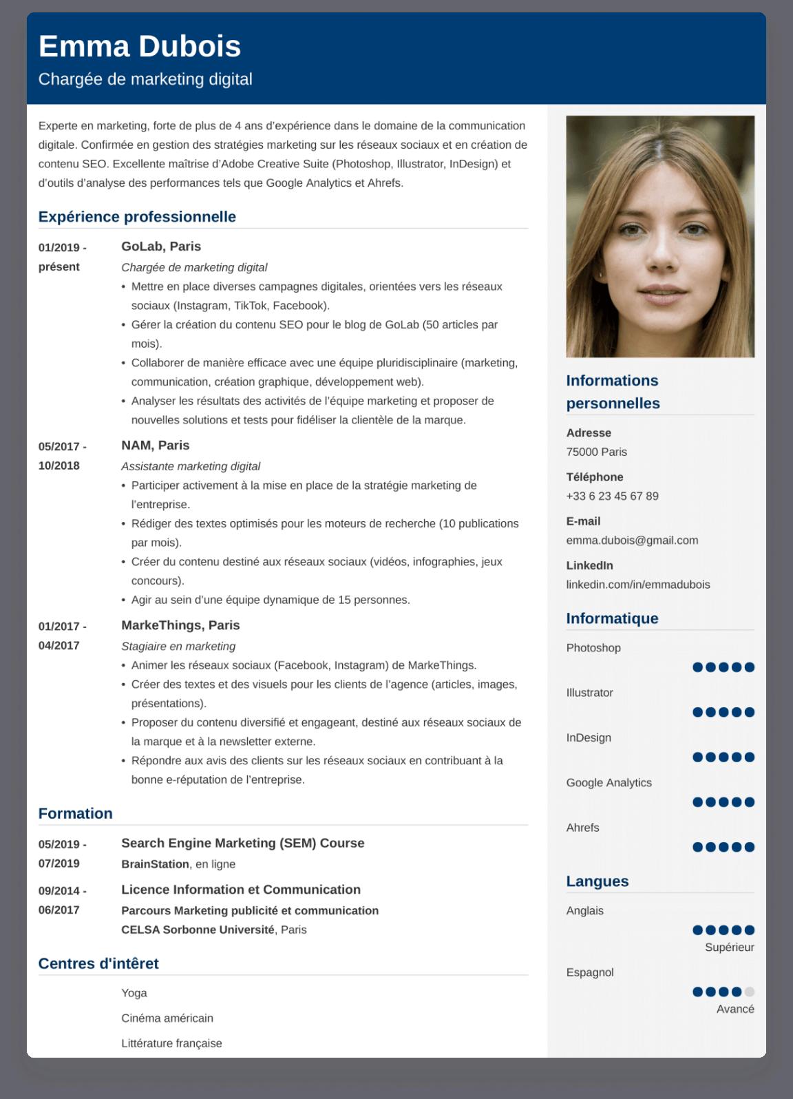 Exemple de CV créé avec ResumeLab