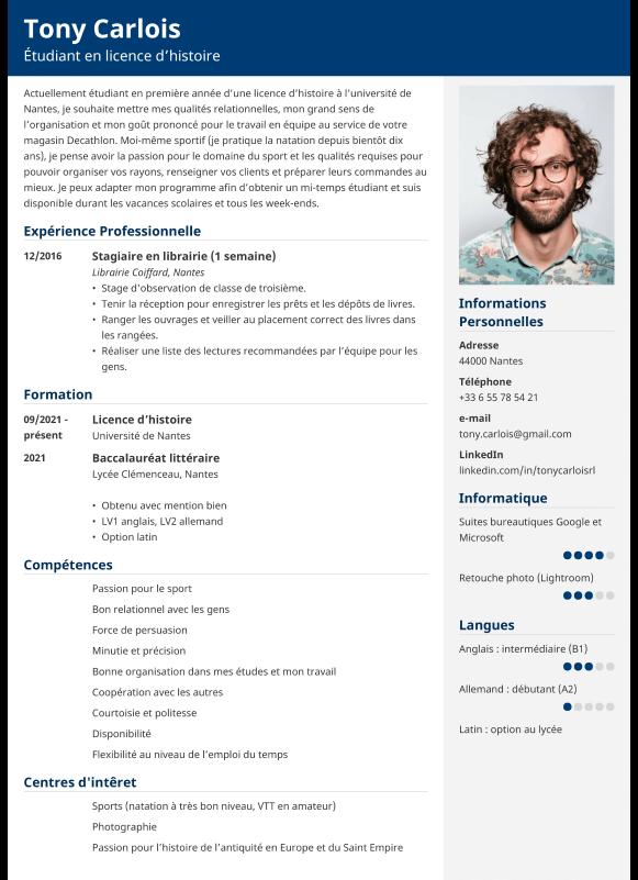 Exemple de CV étudiant