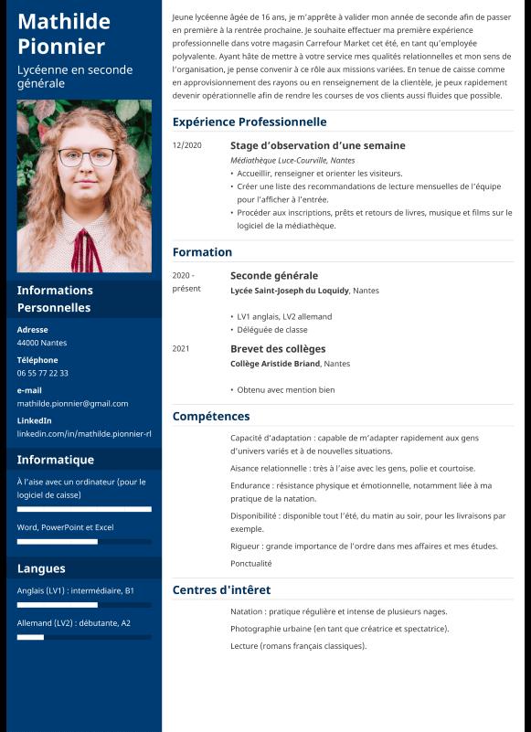 Exemple de CV job d'été