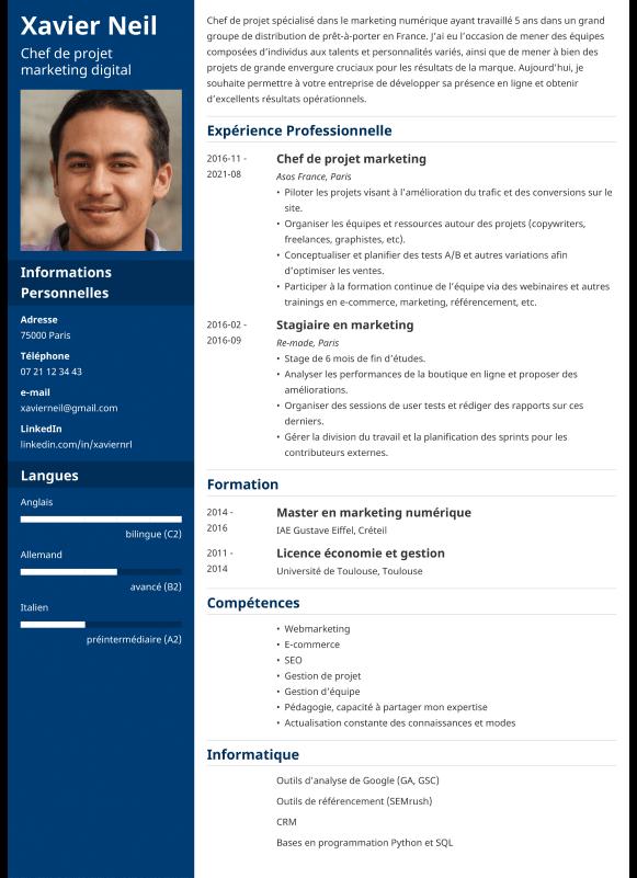 Exemple de CV professionnel