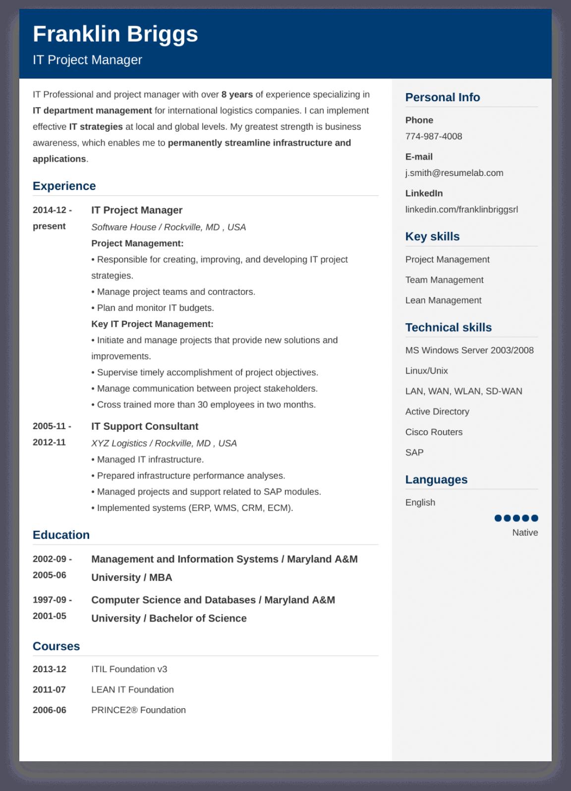 CV template example