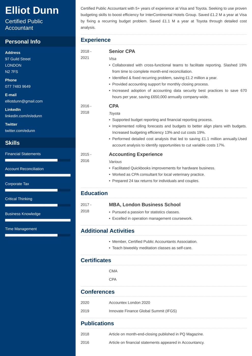 Accounting CV Example