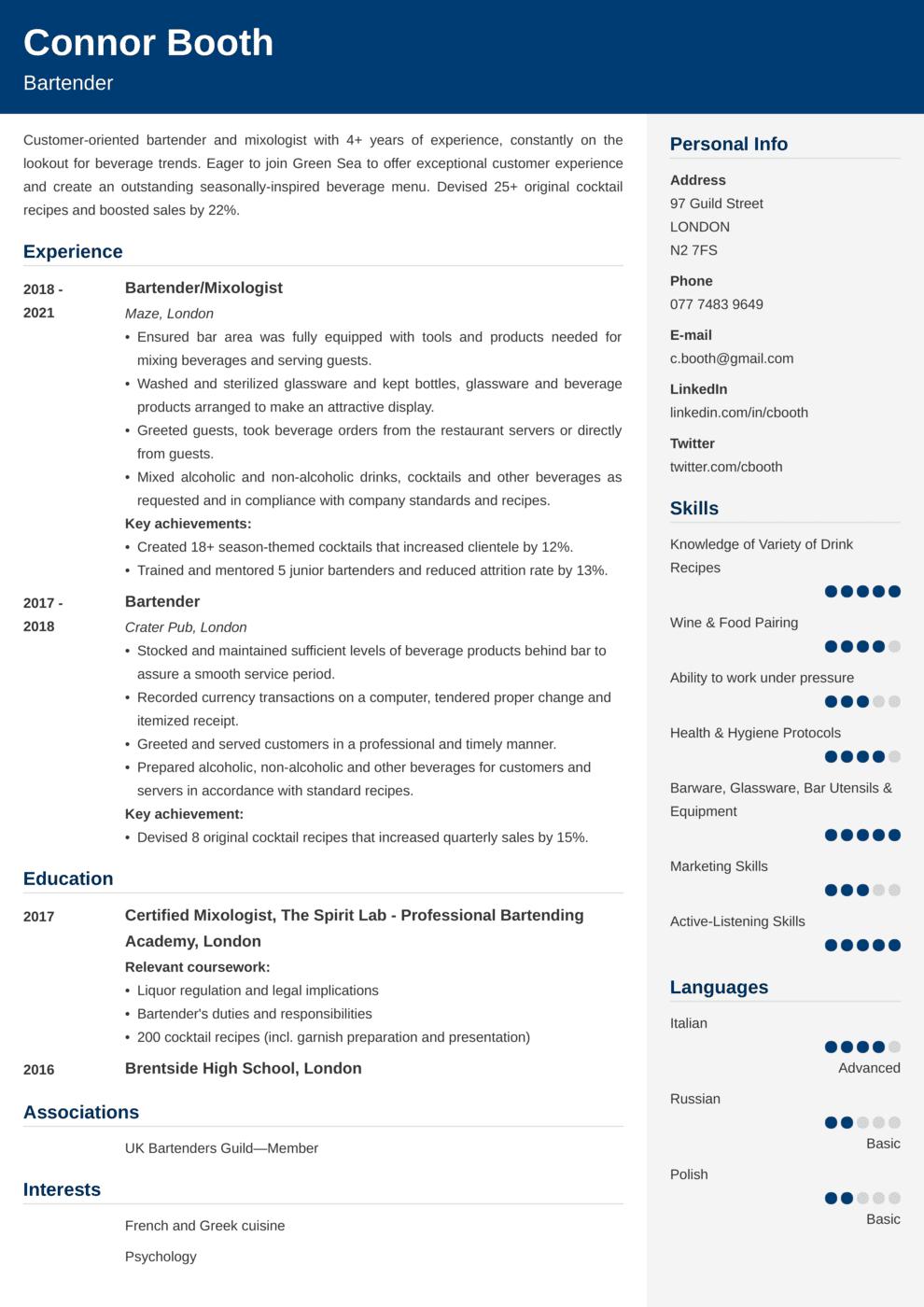 Bartender CV Example