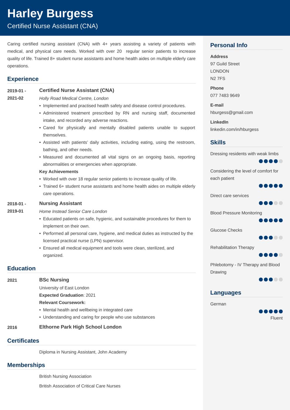 Certified Nurse Assistant (CNA) CV Example