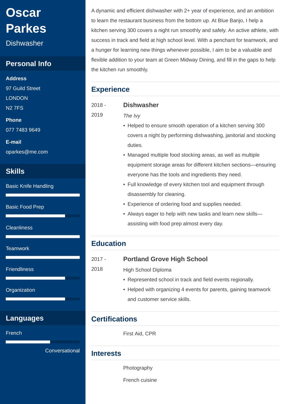 Dishwasher CV Example
