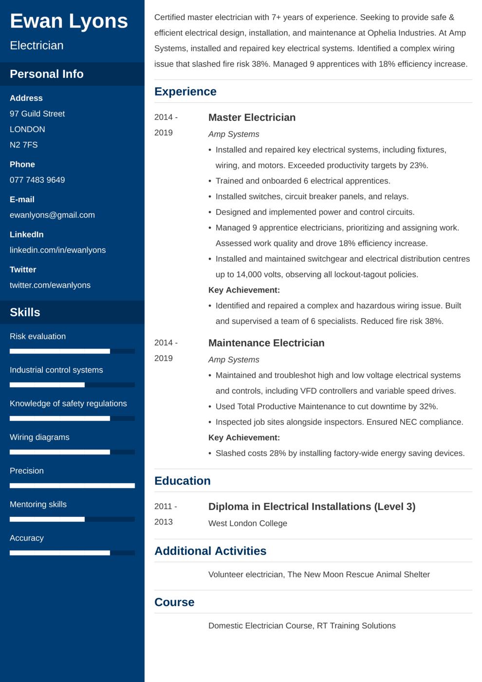 Electrician CV Example