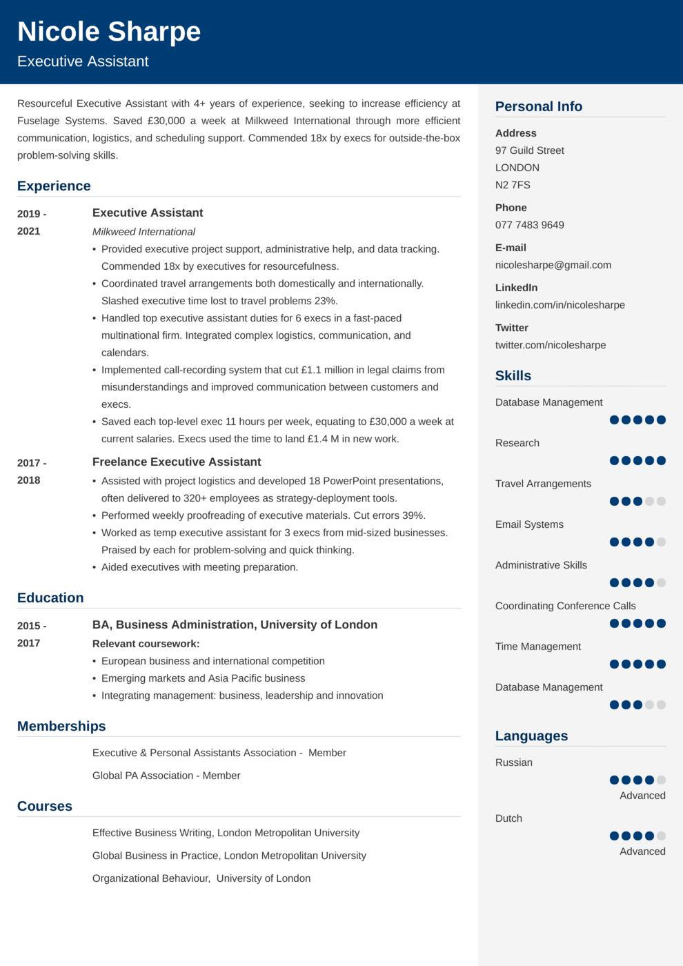 Executive Assistant CV Example