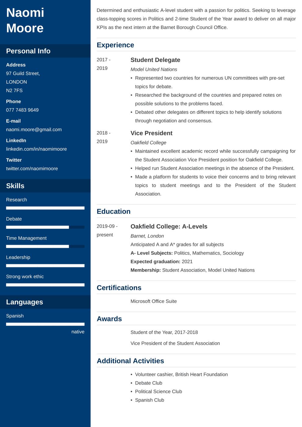 High School CV Example