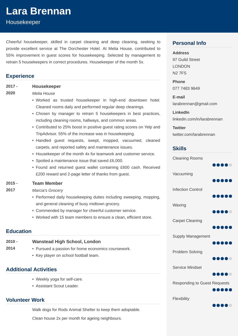 Housekeeping CV Example
