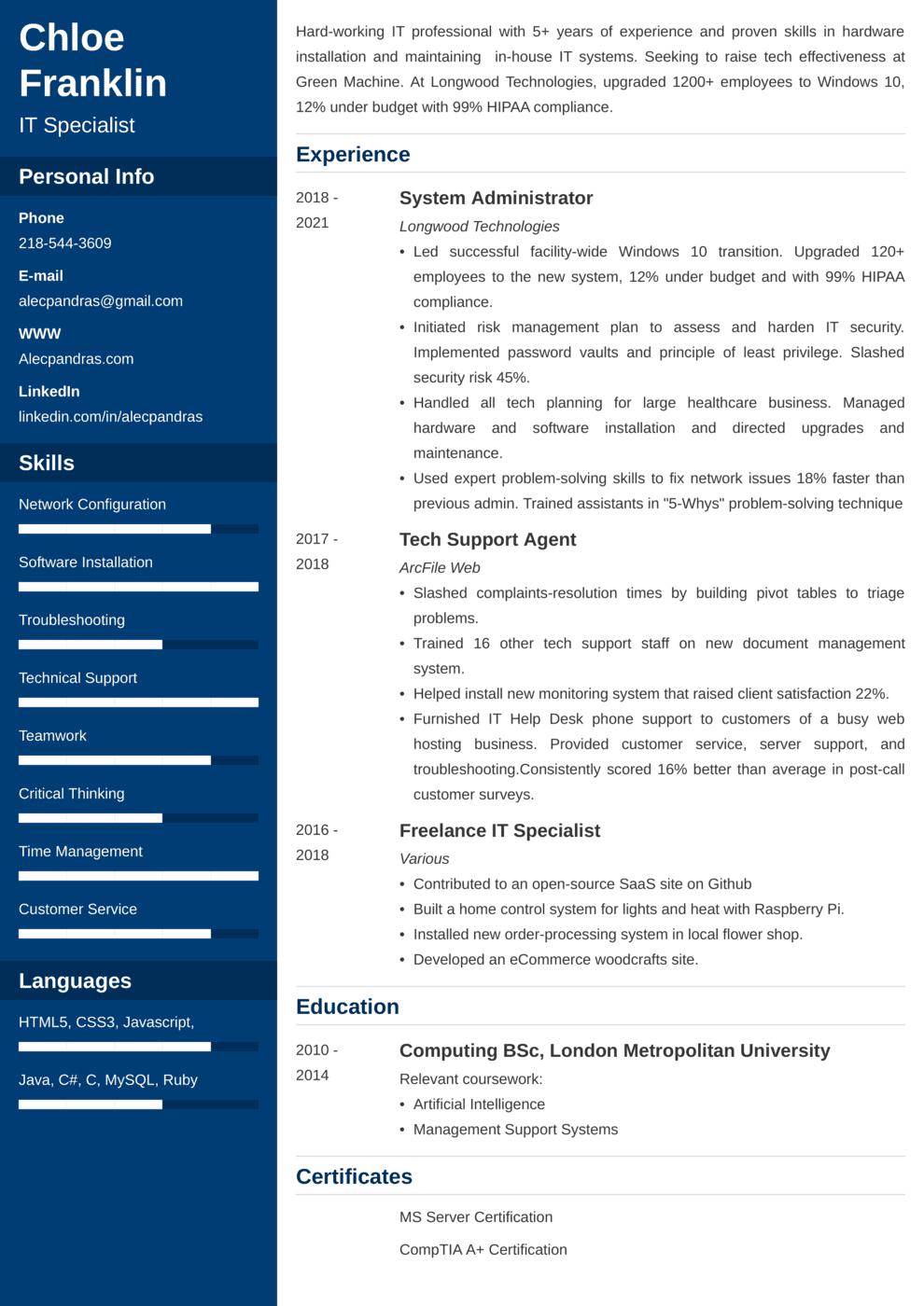 It CV Example