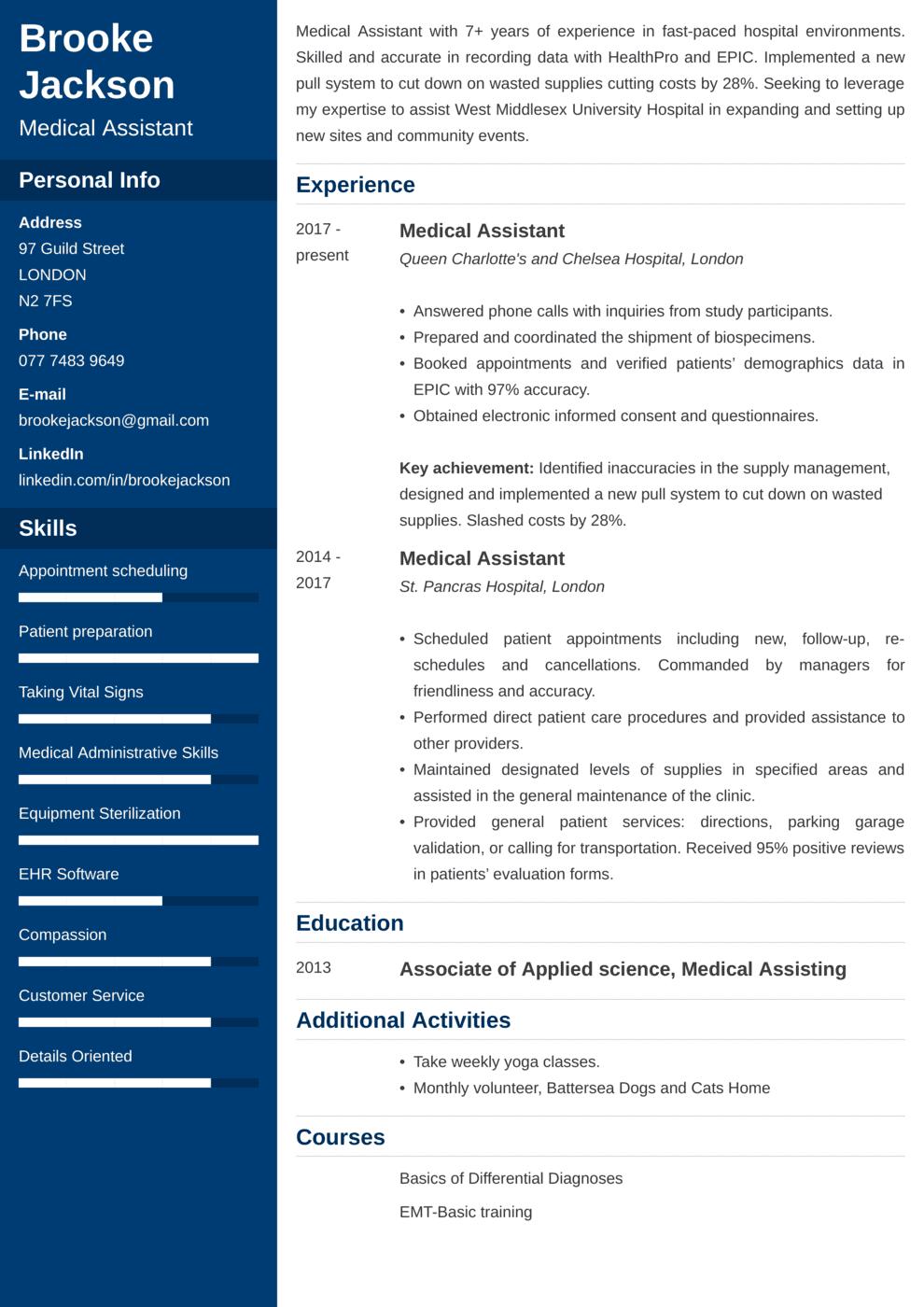 Medical Assistant CV Example