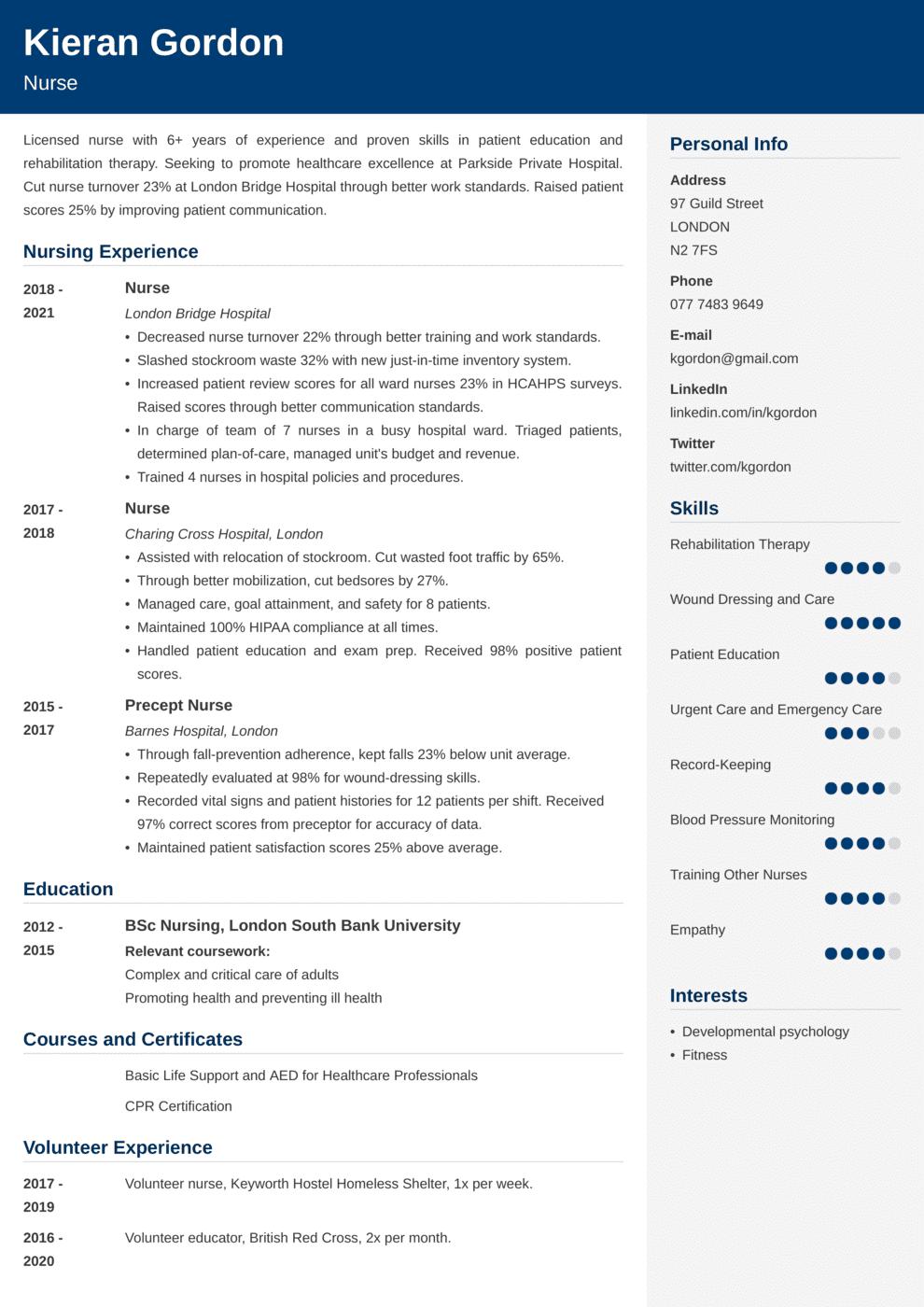 Nursing CV Example