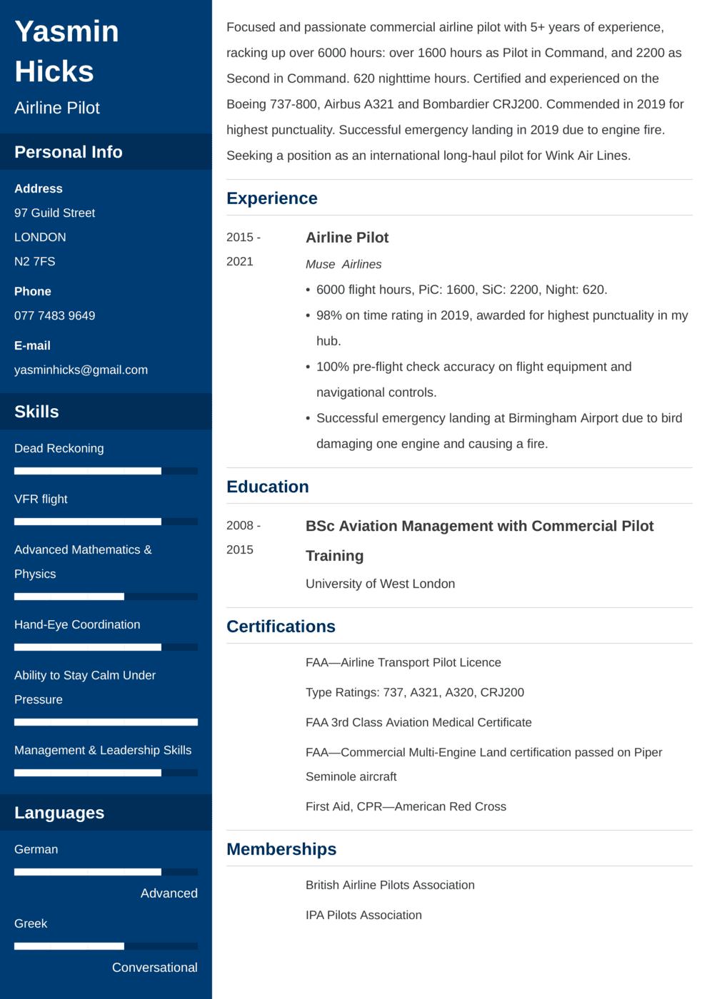 Pilot CV Example
