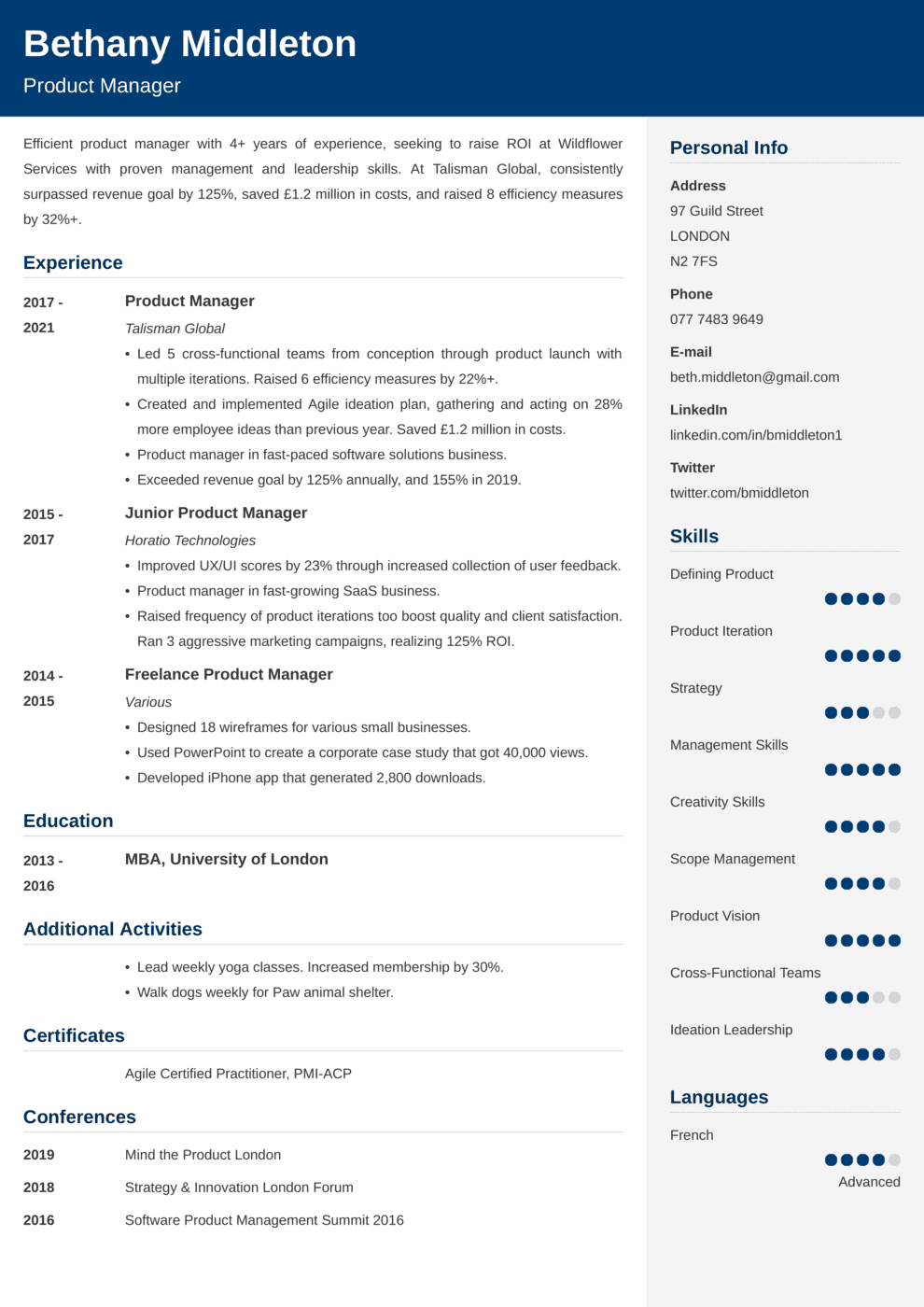 Product Manager CV Example