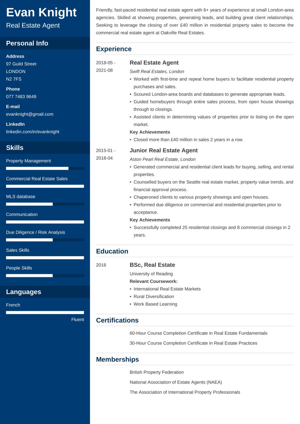 Real Estate CV Example