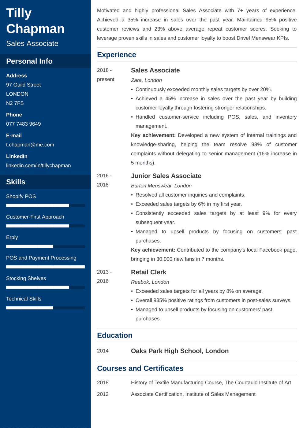 Sales Associate CV Example