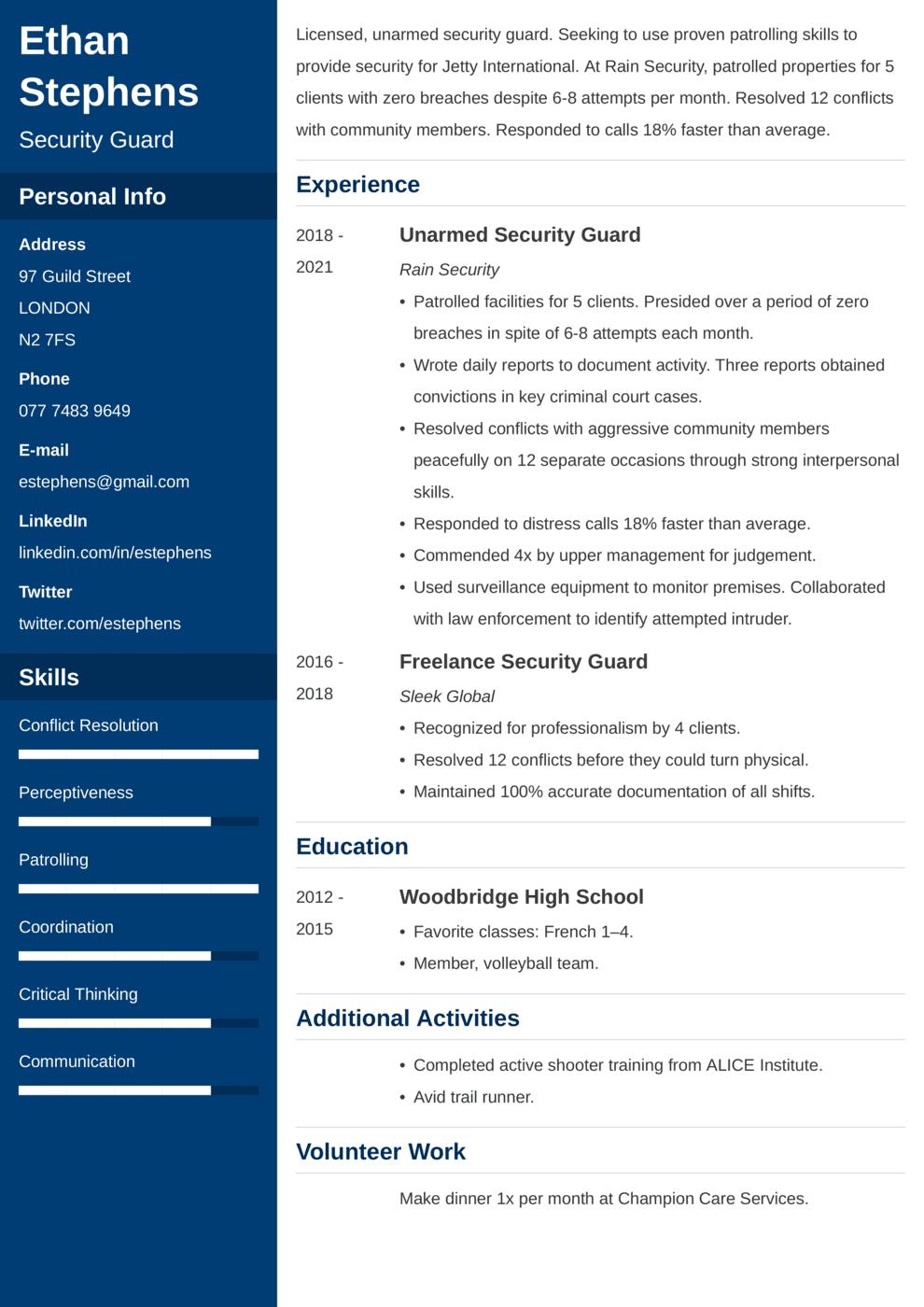 Security Guard CV Example