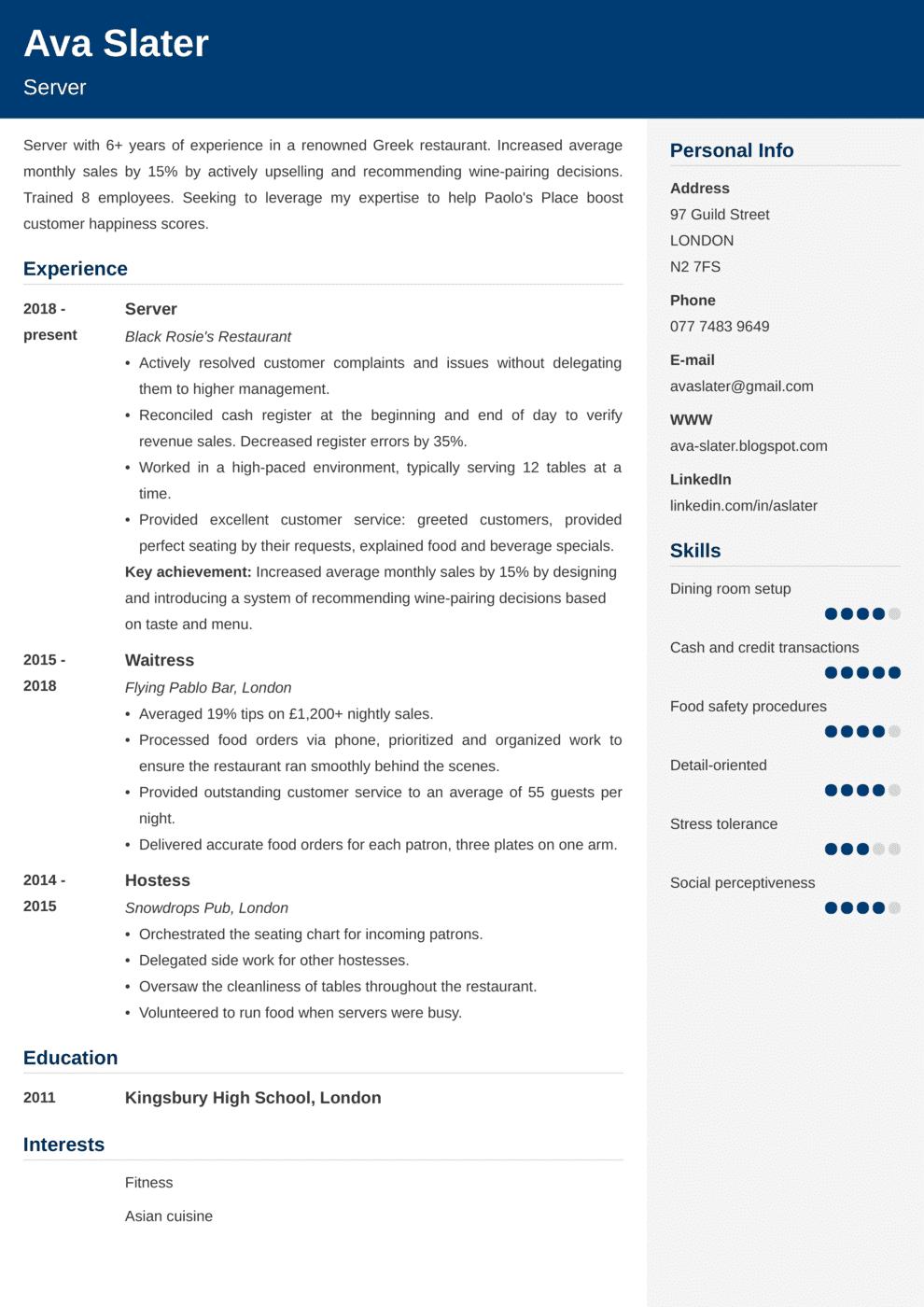 Server CV Example