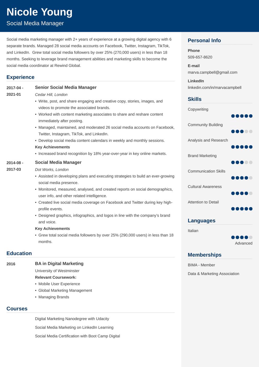 Social Media CV Example