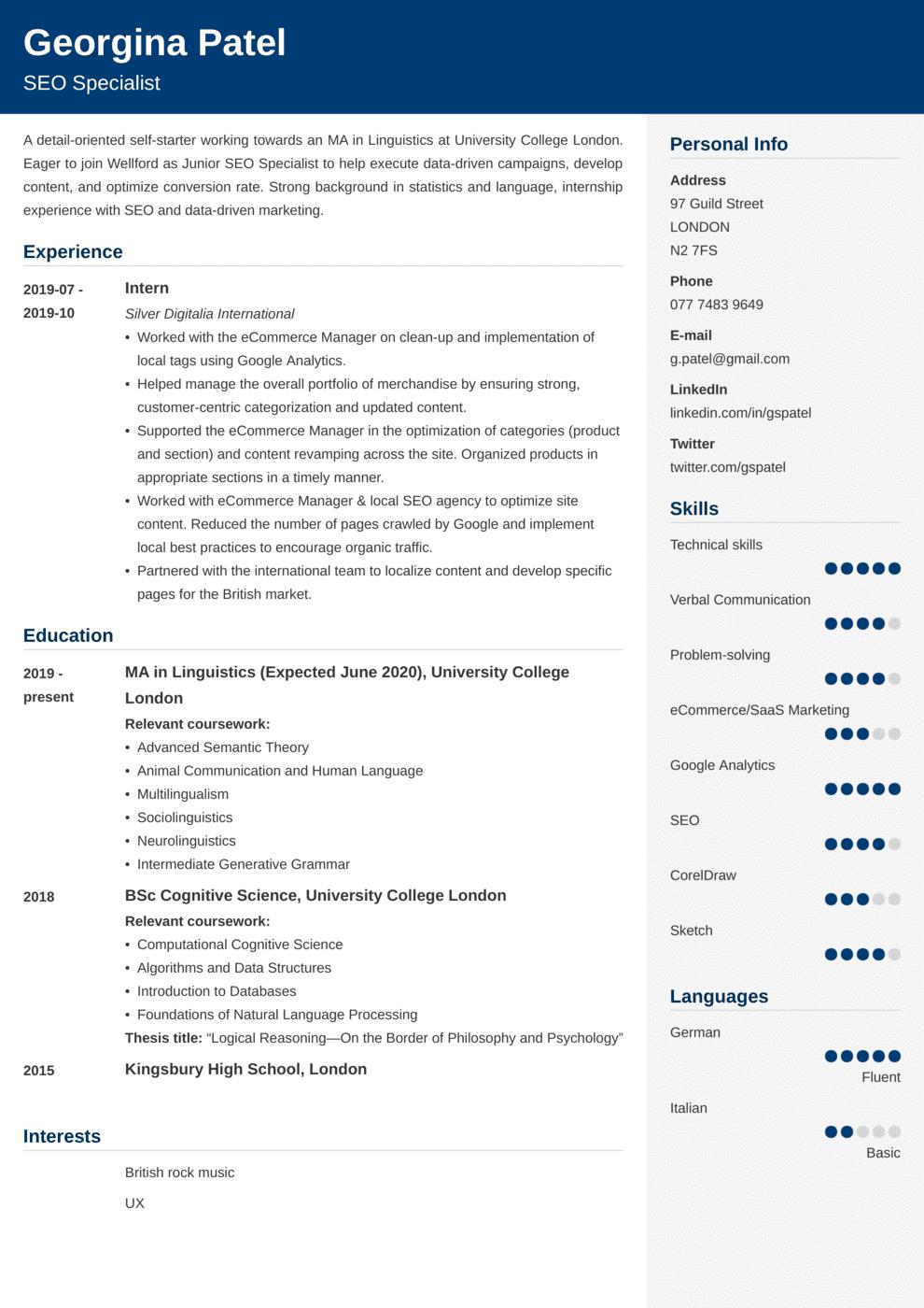 Student CV Example