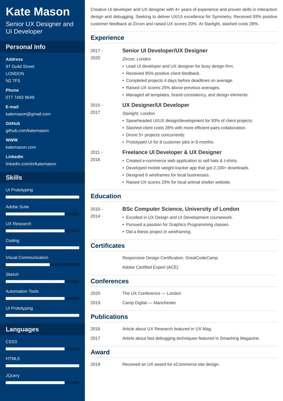 UX Designer & UI Developer CV Example