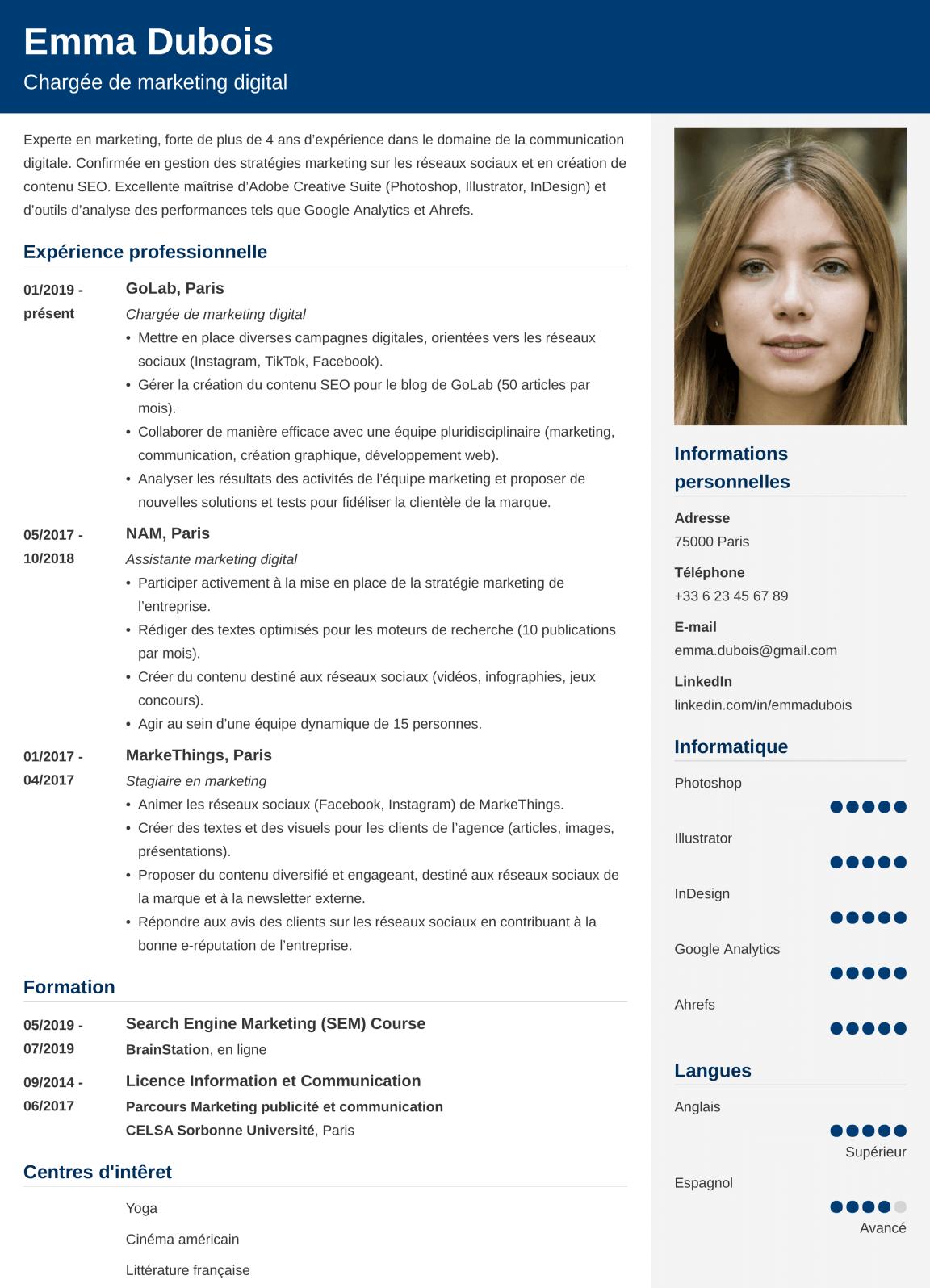 Exemple de modèle de CV
