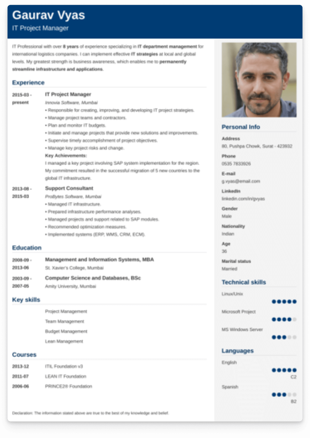 Example of a resume template