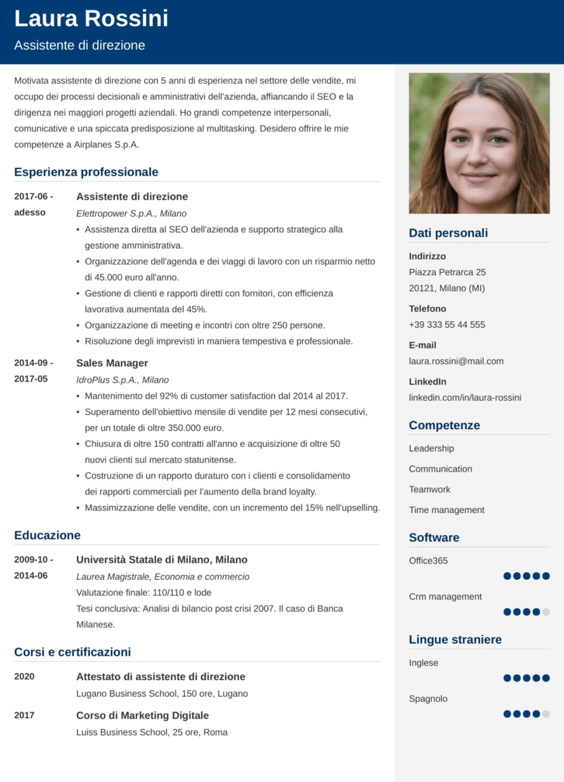 Esempio di modello di CV