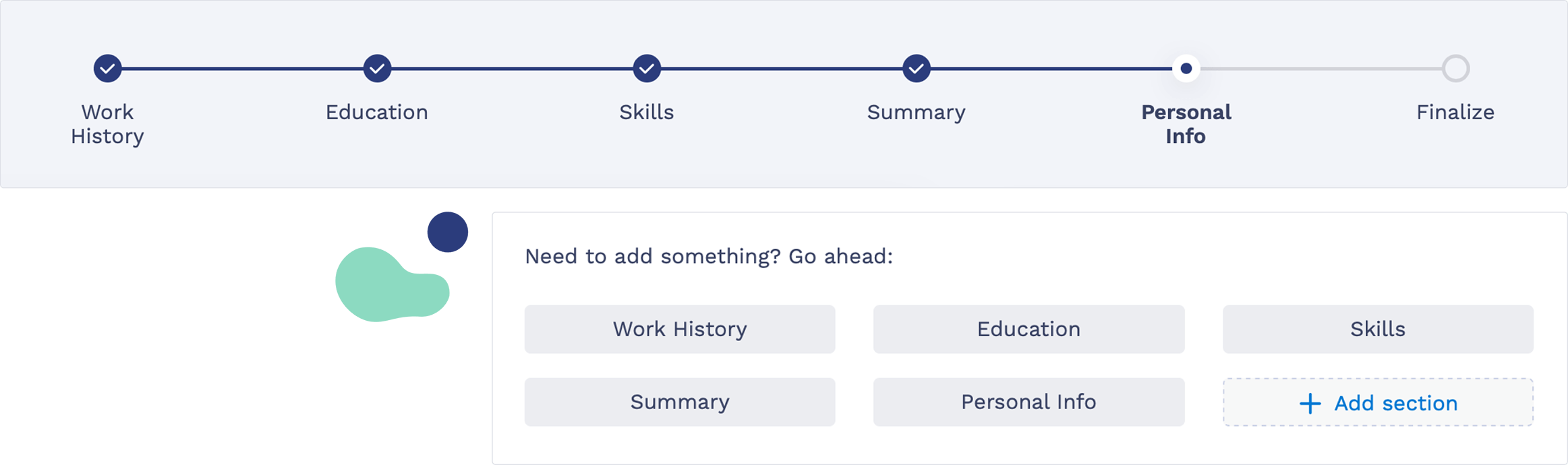 Resume Builder Navigation Panel