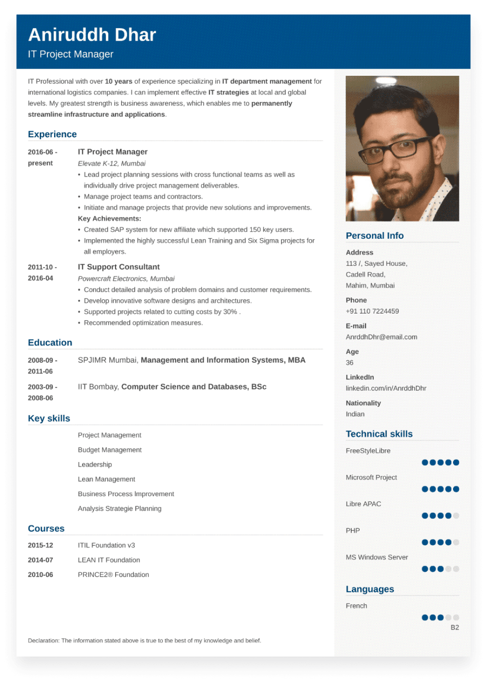 Sample Indian Resume Created With ResumeLab Builder