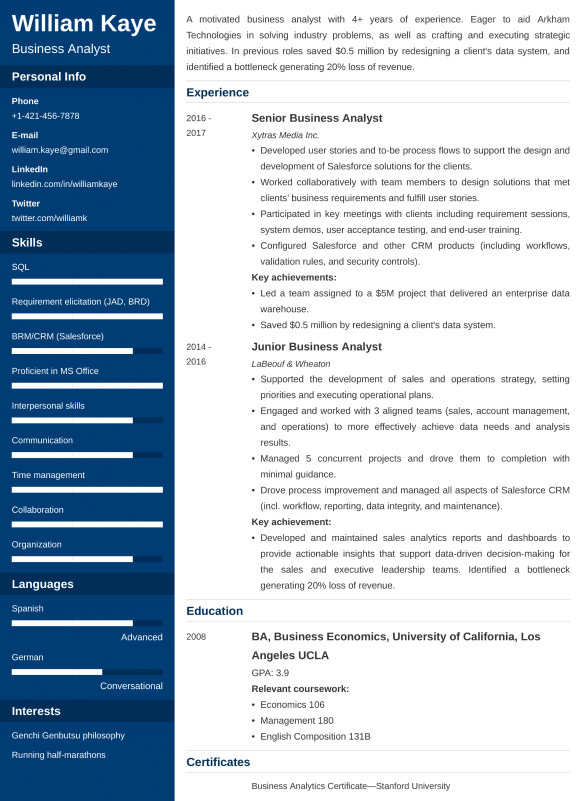 business analyst resumelab