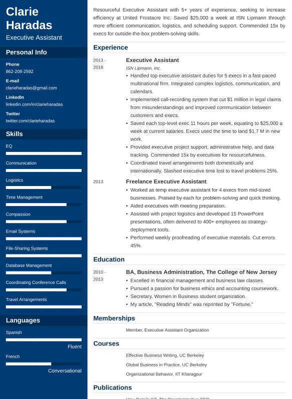 executive assistant resume example