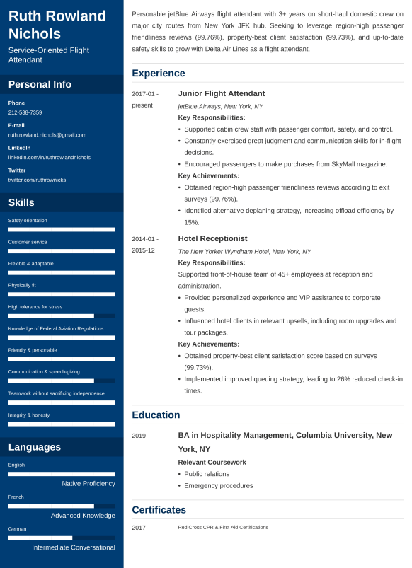 flight attendant resumelab
