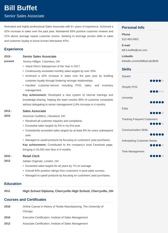 sales associate resumelab