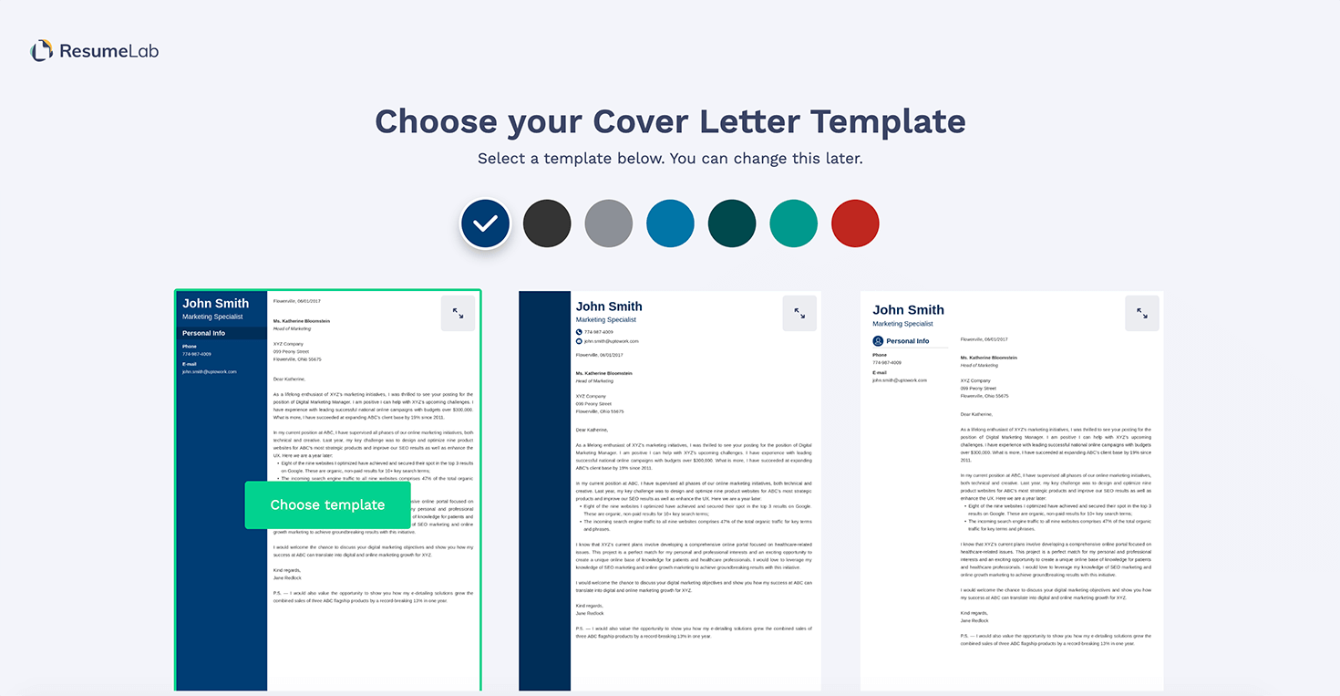 Choose a Cover Letter Template