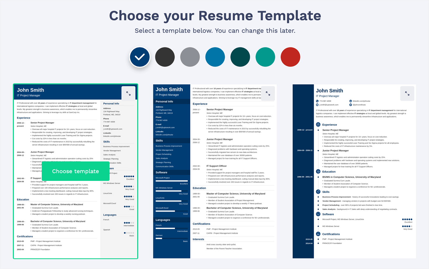 Resume Template Gallery