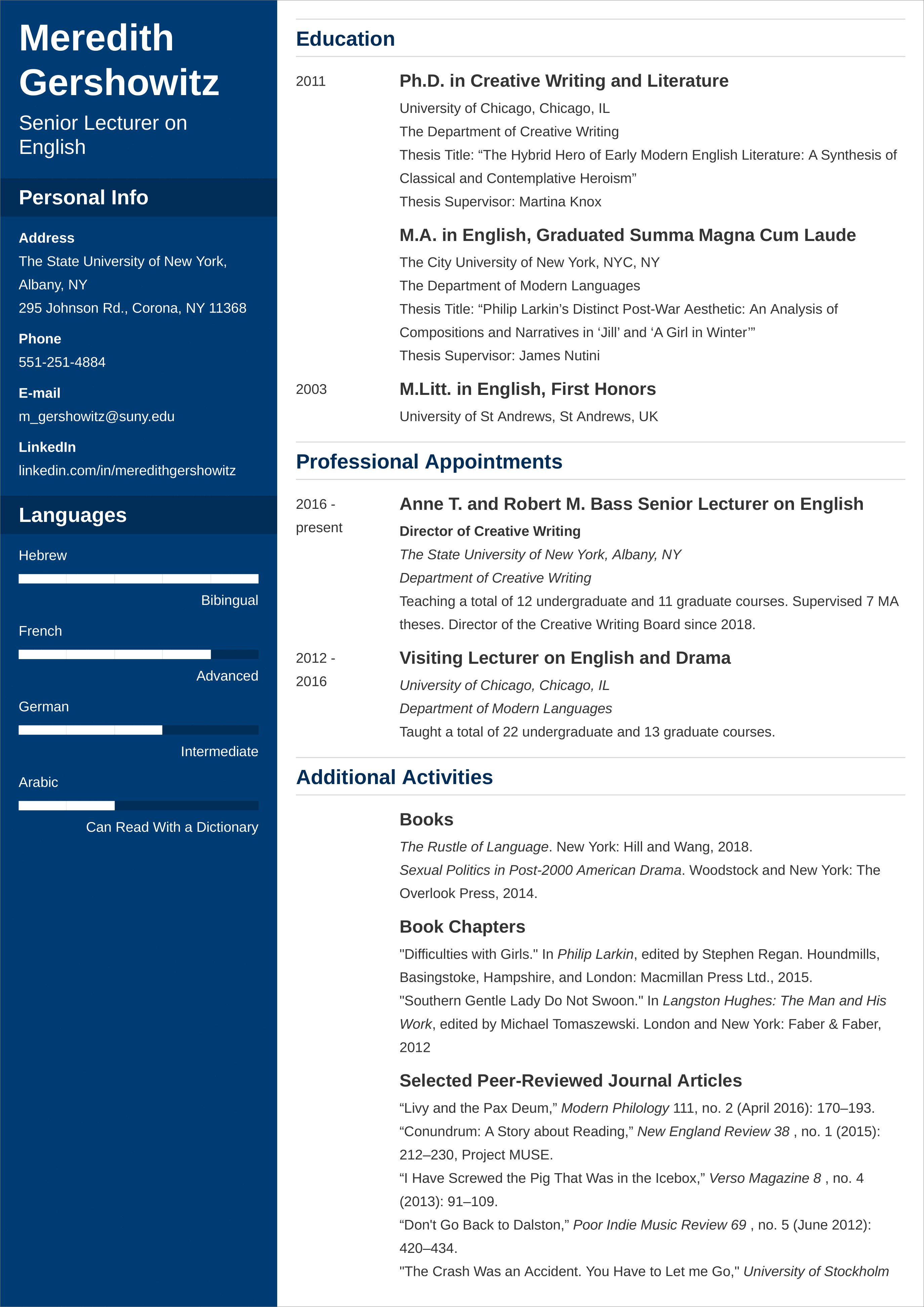 How to write a cv for faculty position