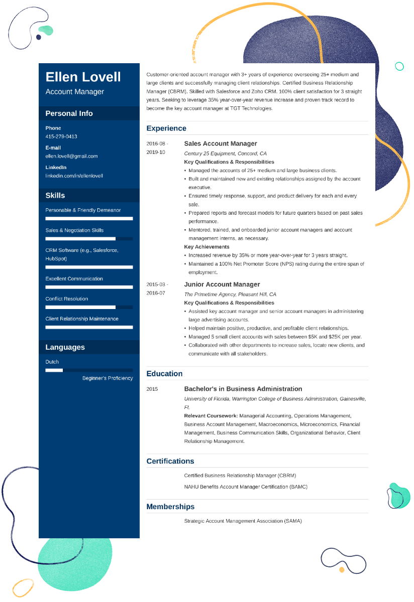 Account Manager Resume Examples And 25 Writing Tips