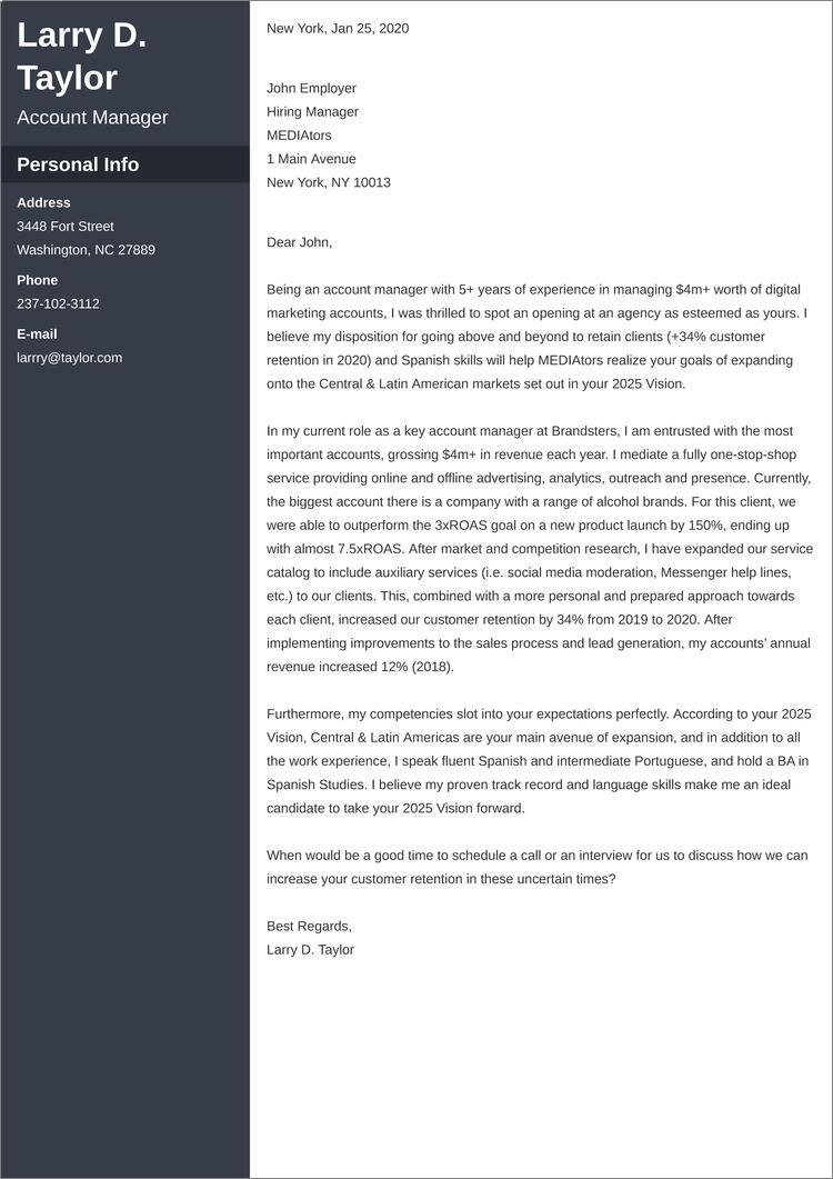 account manager cover letter templates