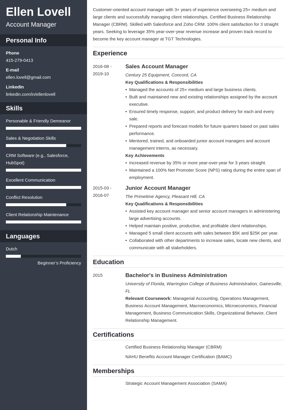 account manager template cascade