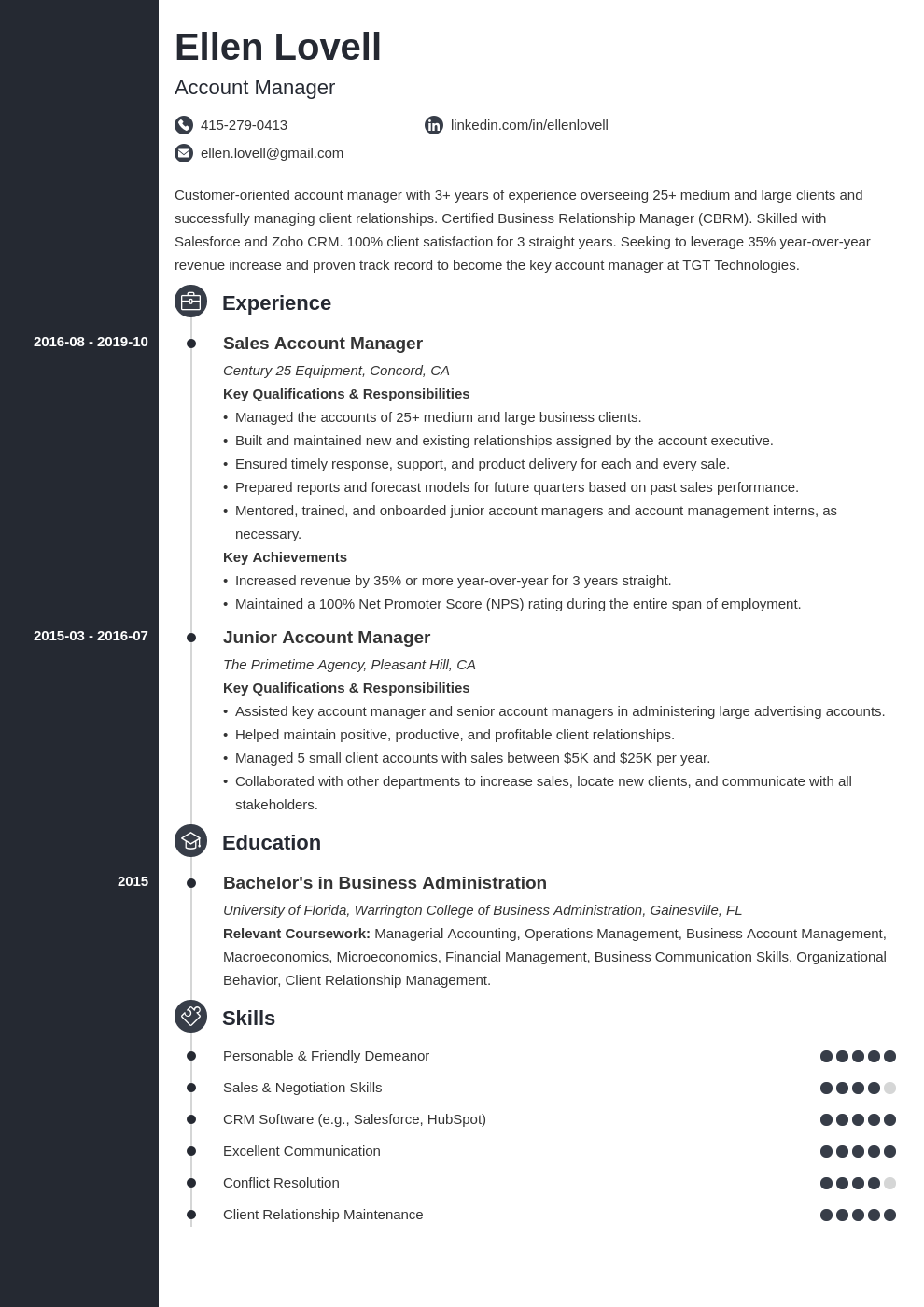 account manager template concept
