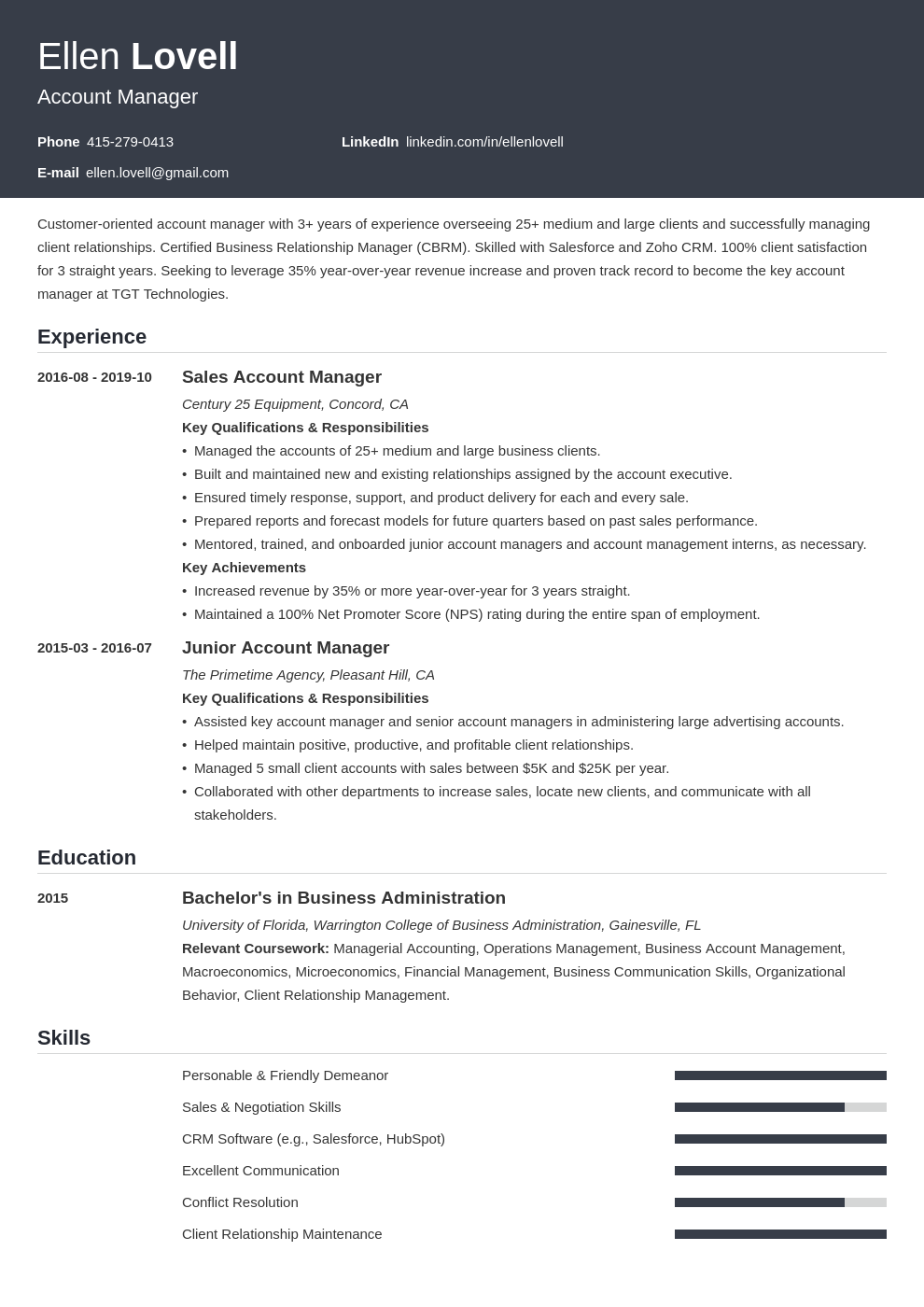 account manager template influx uk
