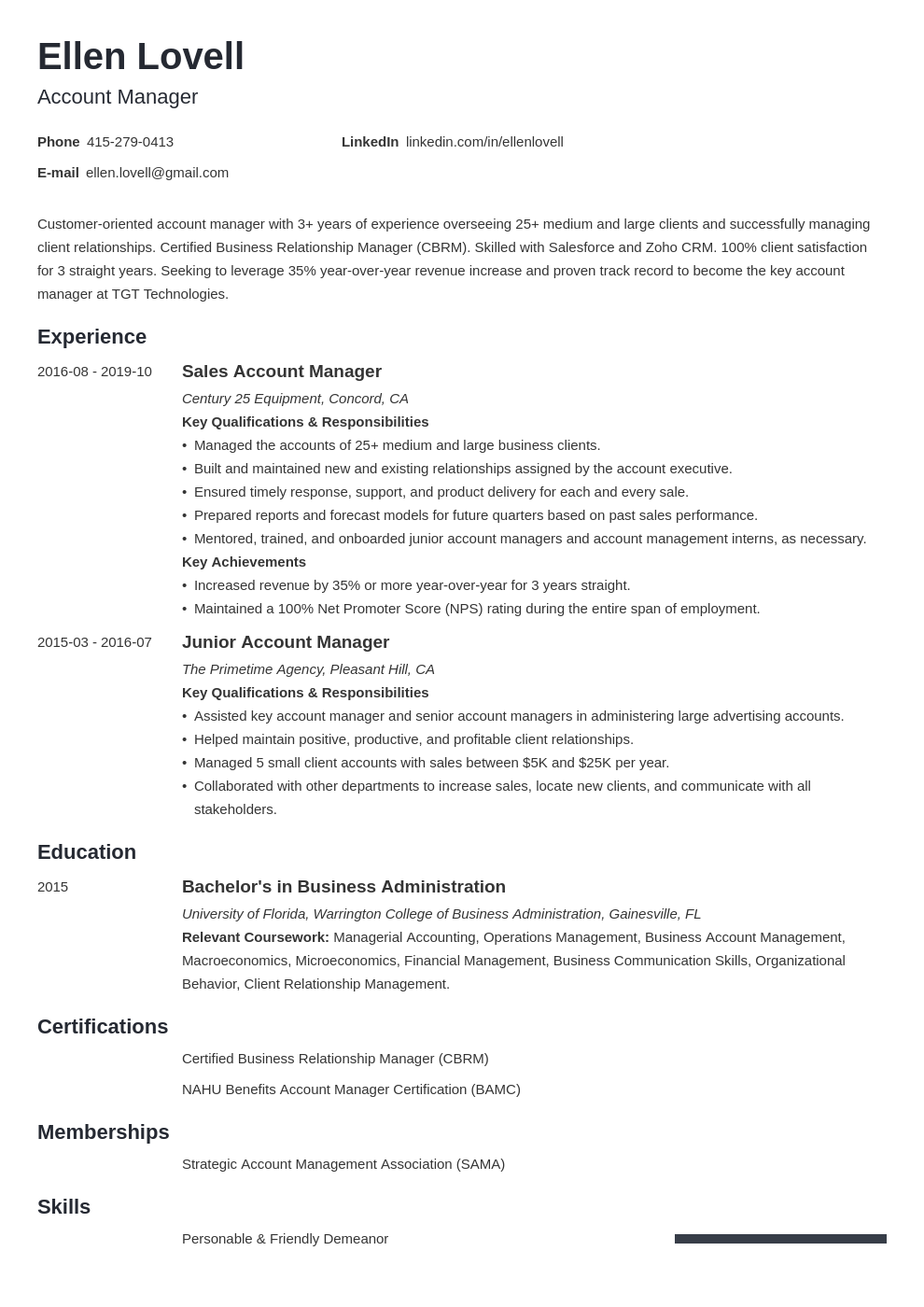 account manager template minimo uk